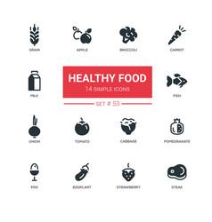 healthy food - line design icons set vector image vector image