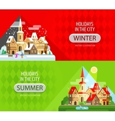 Holidays in the city logo design template vector