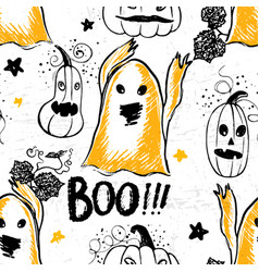 ink hand drawn halloween pattern with pumpkins vector image vector image