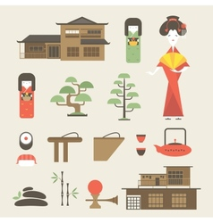 Japan icons vector image vector image