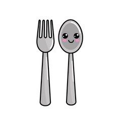 Kawaii happy spoon and fork icon vector