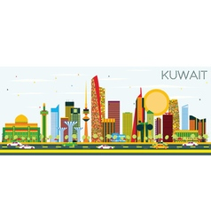 Kuwait Skyline with Color Buildings and Blue Sky vector image vector image