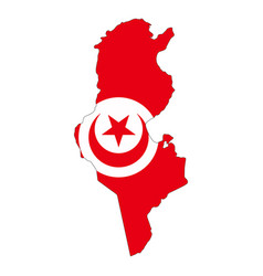 map flag tunisia vector image vector image