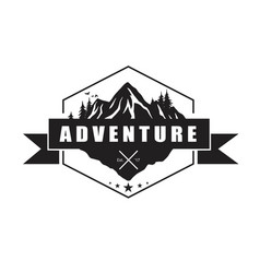 mountain adventure logo template design vector image vector image