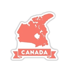 Paper sticker on white background canada map vector