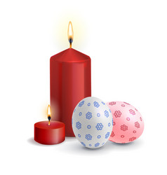 realistic easter eggs with the burning candle vector image