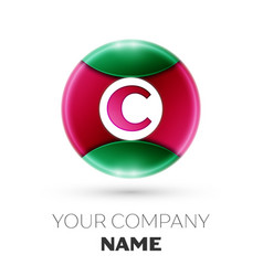 realistic letter c logo in colorful circle vector image vector image