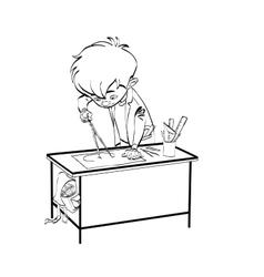 Schoolboy boy drawing lesson designer engineer vector