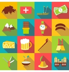 Switzerland travel icons set flat style vector
