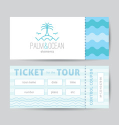 Ticket template with palm seagulls island and vector