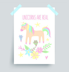 unicorn poster vector image