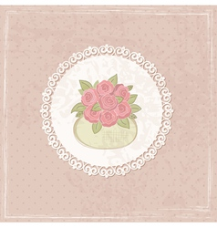 Vintage background with basket of flowers 2 vector