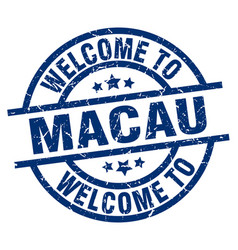 Welcome to macau blue stamp vector