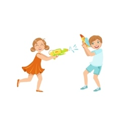 Boy and girl playing water pistols fight vector