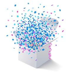 White open box flying stars vector image