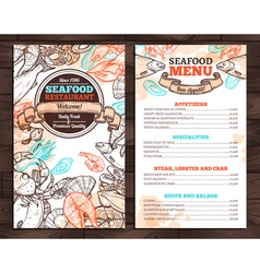 Design of seafood menu in sketch style vector