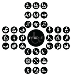 Black cruciform disability and people icon collect vector