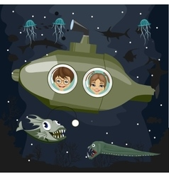 Kids in semi submersible sea craf or submarine vector