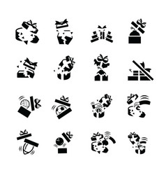 Set black gift icons is damage vector