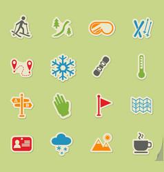 skiing icon set vector image