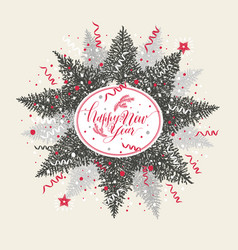 Christmas with calligraphic text and tree vector