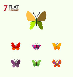 Flat monarch set of milkweed butterfly beauty vector