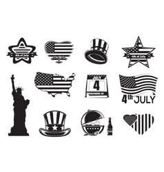 Us independence day monochrome icon set vector