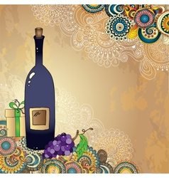 Holiday card with wine bottle grapes gift box and vector