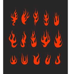 Different abstract flame silhouettes collection vector image