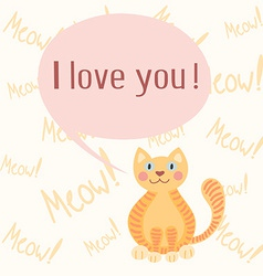 Cute romantic background with cat vector