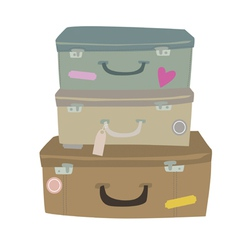 Composition with suitcases vector