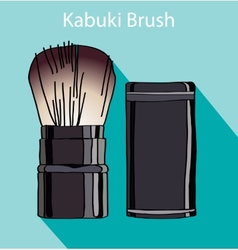Kabuki brush in style flet vector