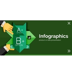 Infographic flat design banner with hands vector