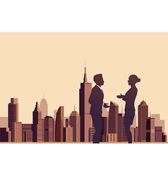 Business people talking with a city background vector