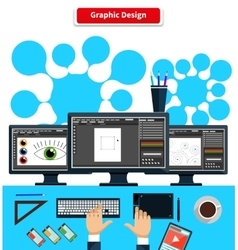 Workspace graphic design monitor tablet keyboard vector