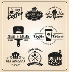 Set of food and drink badges logo vector