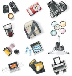 photography equipment icon set vector image
