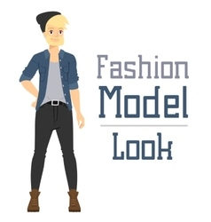 Beautiful cartoon fashion boy model vector