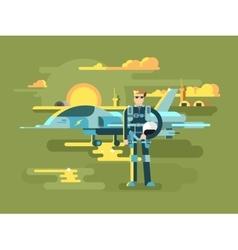 Military pilot man vector