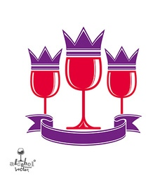 Sophisticated luxury wineglasses with king crown vector