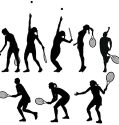 Tennis players silhouettes vector image