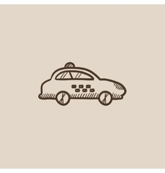 Taxi car sketch icon vector