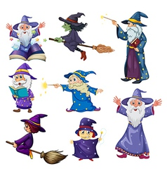 A group of wizards vector image vector image