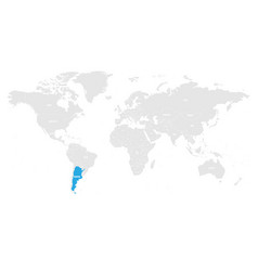 argentina marked by blue in grey world political vector image vector image