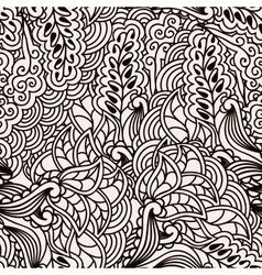 Black and white seamless pattern with hand drawn vector