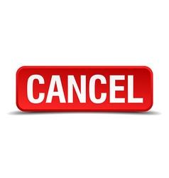 Cancel red three-dimensional square button vector