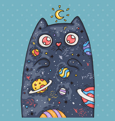 cartoon cute cat with the universe inside cartoon vector image vector image