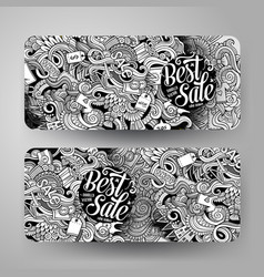 cartoon hand drawn doodles sale banners vector image vector image