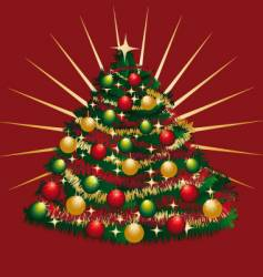 Christmas-tree with tinsels and bowls vector