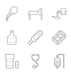Clinic icons set outline style vector